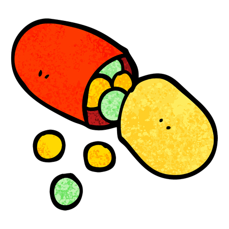 grunge textured illustration cartoon capsule pill  イラスト・ベクター素材