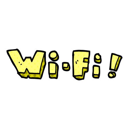cartoon doodle wording wifi