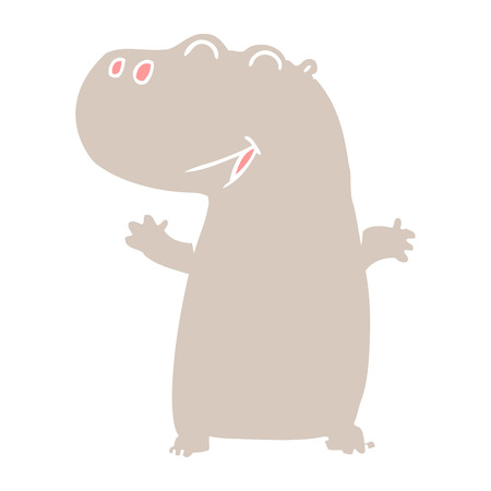 flat color style cartoon hippopotamus