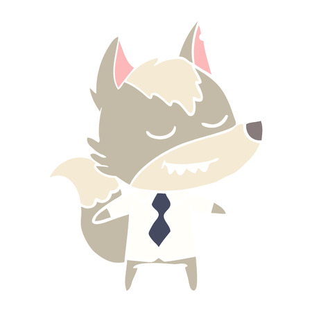 friendly flat color style cartoon boss wolf Ilustrace
