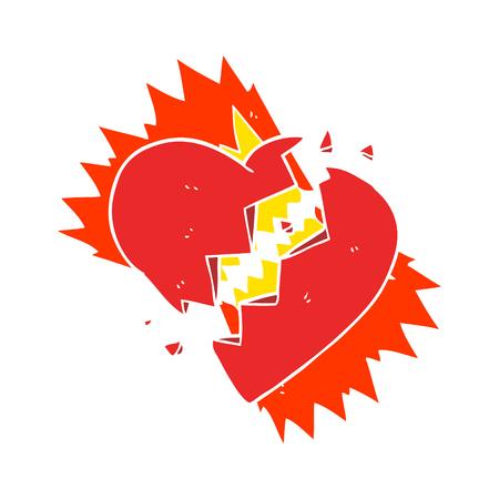 flat color illustration of broken heart Stock Illustratie