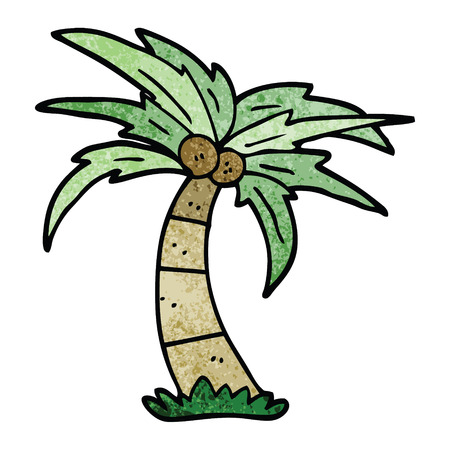 cartoon doodle palm tree Çizim