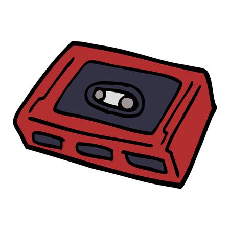 cartoon doodle retro tape cassette Ilustração