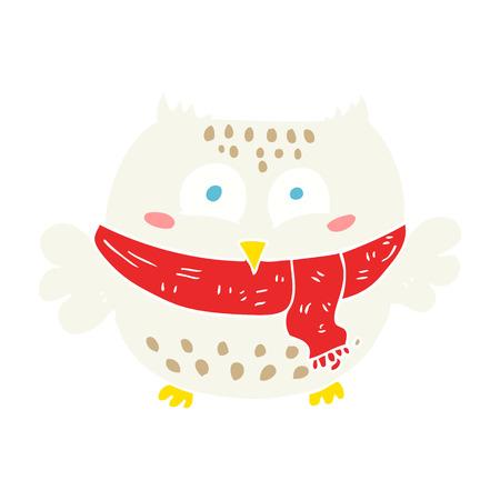 flat color illustration of owl