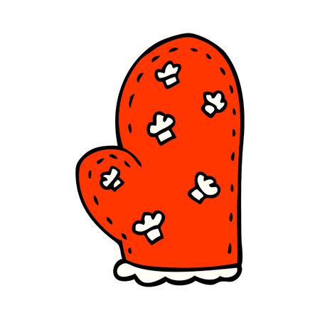 cartoon doodle oven glove