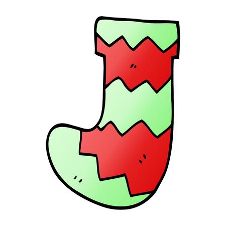 cartoon doodle christmas stocking Illustration