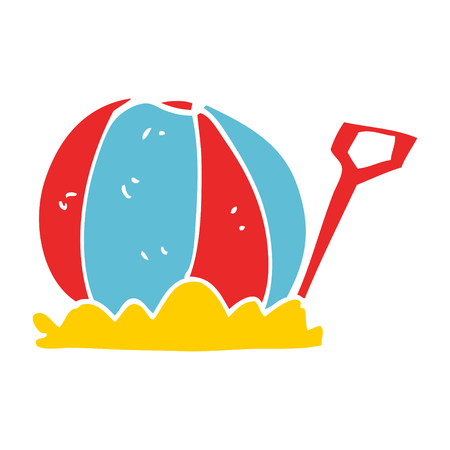 cartoon doodle beachball and spade