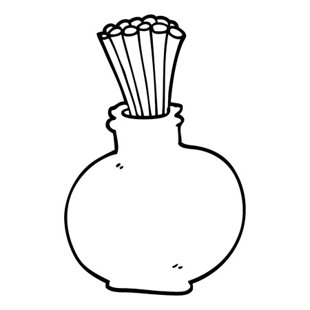 line drawing cartoon jar of sticks Illustration