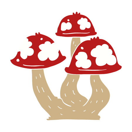 flat color style cartoon mushrooms