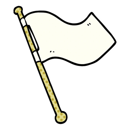 cartoon doodle white flag waving
