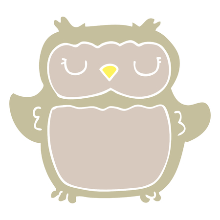 flat color style cartoon owl