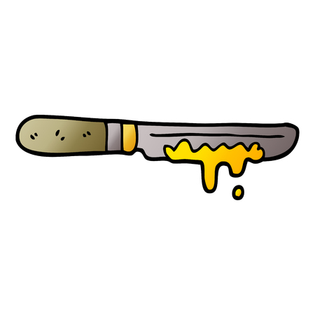 cartoon doodle butter knife Illustration