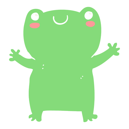 cute flat color style cartoon frog