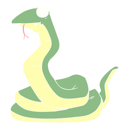 flat color style cartoon snake