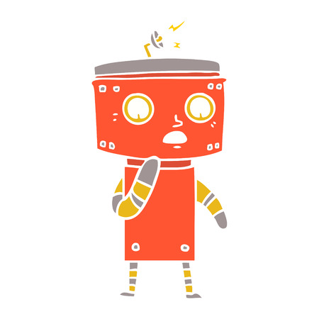 uncertain flat color style cartoon robot