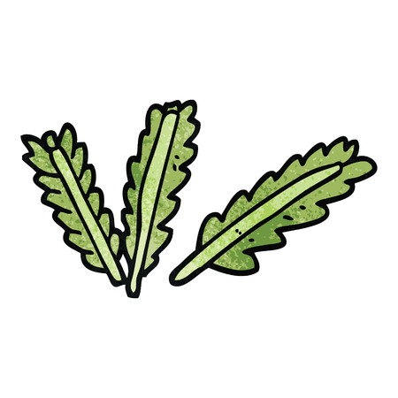 cartoon doodle scattered leaves