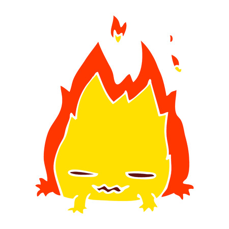 cartoon doodle fire demon 向量圖像