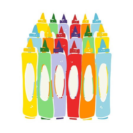 flat color illustration of crayons