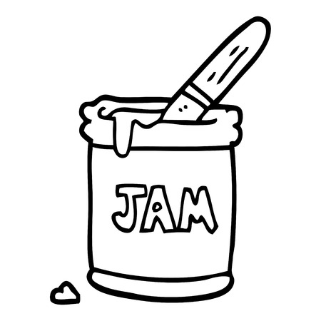 line drawing cartoon jam jar