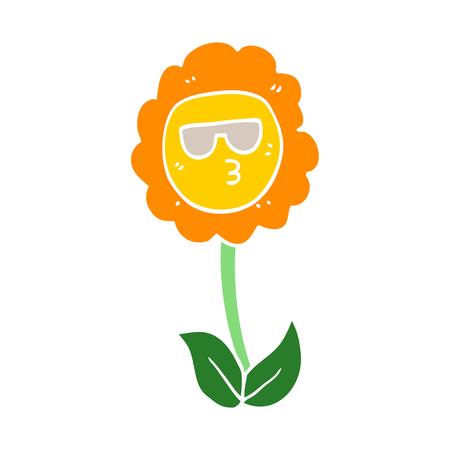 flat color style cartoon flower 일러스트