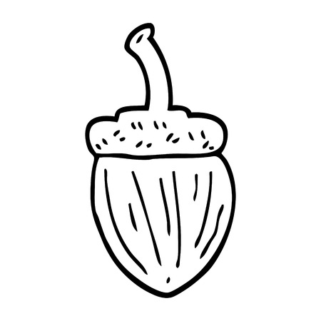 line drawing cartoon acorn Stock Illustratie