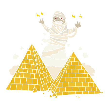 flat color style cartoon mummy and pyramids