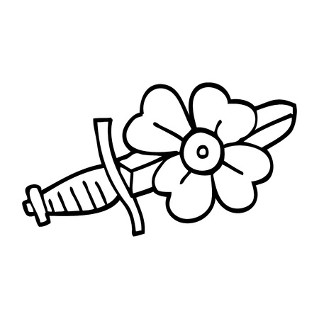 line drawing cartoon tattoo dagger symbol