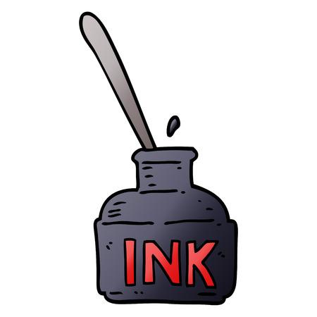 cartoon doodle ink bottle Ilustrace