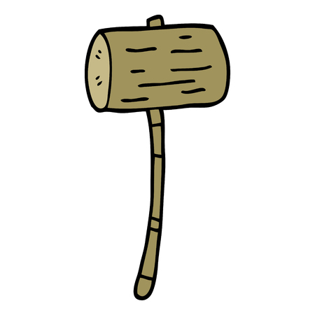 cartoon doodle wood mallet