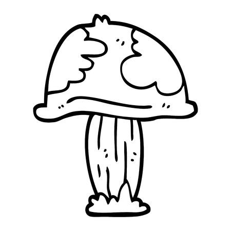 line drawing cartoon wild mushroom Illustration