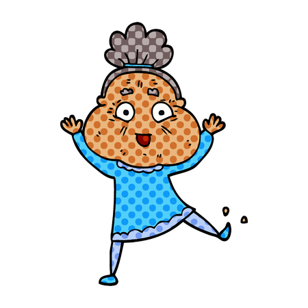 cartoon doodle dancing old lady  イラスト・ベクター素材