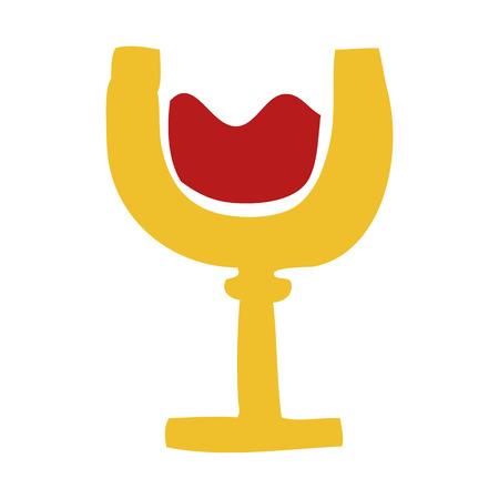 cartoon doodle glass of wine Illustration