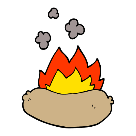 cartoon doodle burning sausage 向量圖像