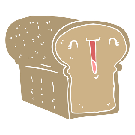 cute flat color style cartoon loaf of bread