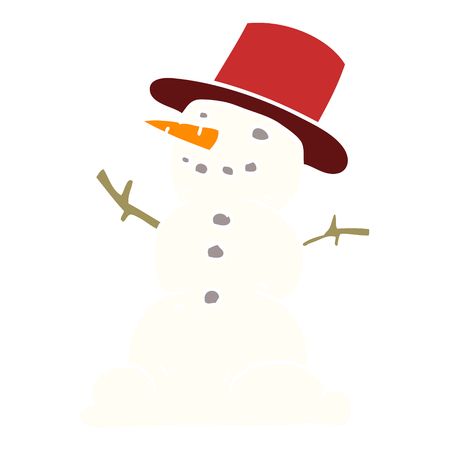 cartoon doodle snowman