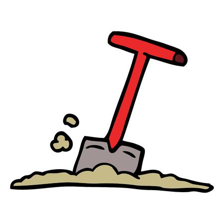 dessin animé doodle pelle dans la saleté