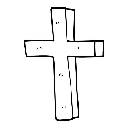 line drawing cartoon of a gold cross