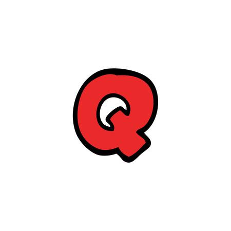 cartoon doodle letter q