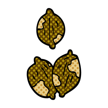 cartoon doodle nuts in shells
