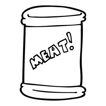 line drawing cartoon can of meat