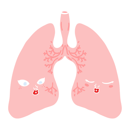 flat color style cartoon lungs