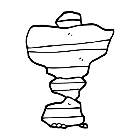 line drawing cartoon of stacked stones