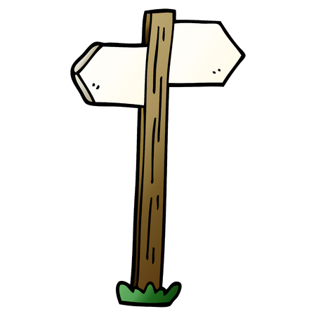 cartoon doodle painted direction sign posts 向量圖像