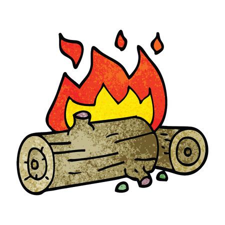 cartoon doodle burning logs Illusztráció