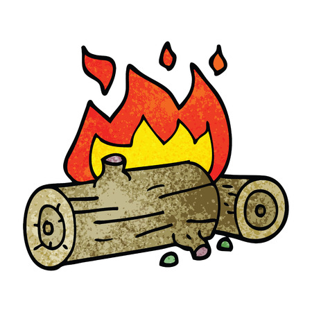 cartoon doodle burning logs 向量圖像