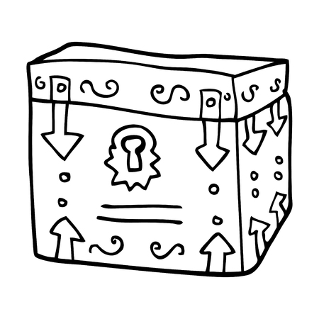 line drawing cartoon magical chest