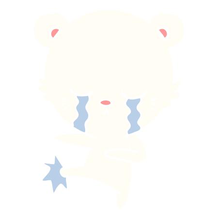 crying flat color style cartoon polar bear kicking out