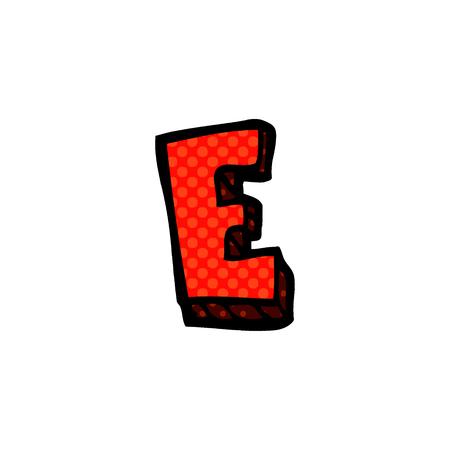 cartoon doodle letter e