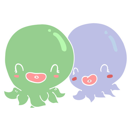 two flat color style cartoon octopi 向量圖像
