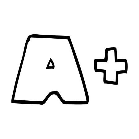line drawing cartoon letter grades Illustration